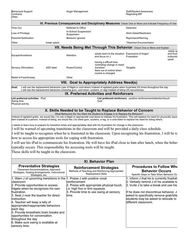 sample behavior intervention plan